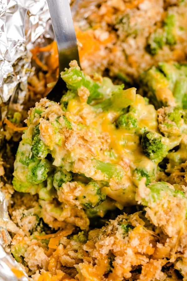 A close up of broccoli casserole still in the crockpot.