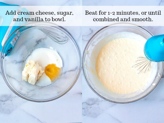 Steps 1 and 2 - add the cream cheese, sugar, and vanilla to the bowl. Beat until smooth and combined.