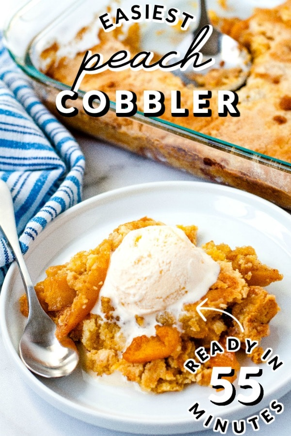 This Cake Mix Peach Cobbler recipe is easy to make and the perfect summer comfort food. It serves eight and costs $6.71 to make. That's just 84¢ per serving. via @easybudgetrecipes