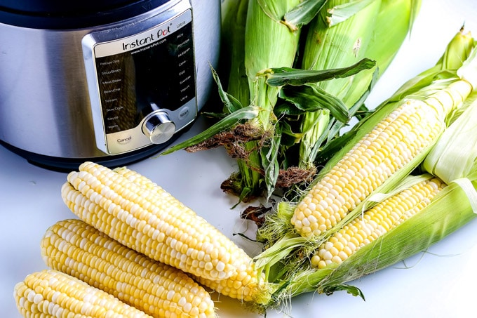 All of the ingredients needed to make this recipe: corn and water.