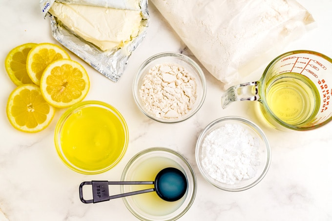 All of the ingredients needed to make Copycat Lemon Cream Cake.
