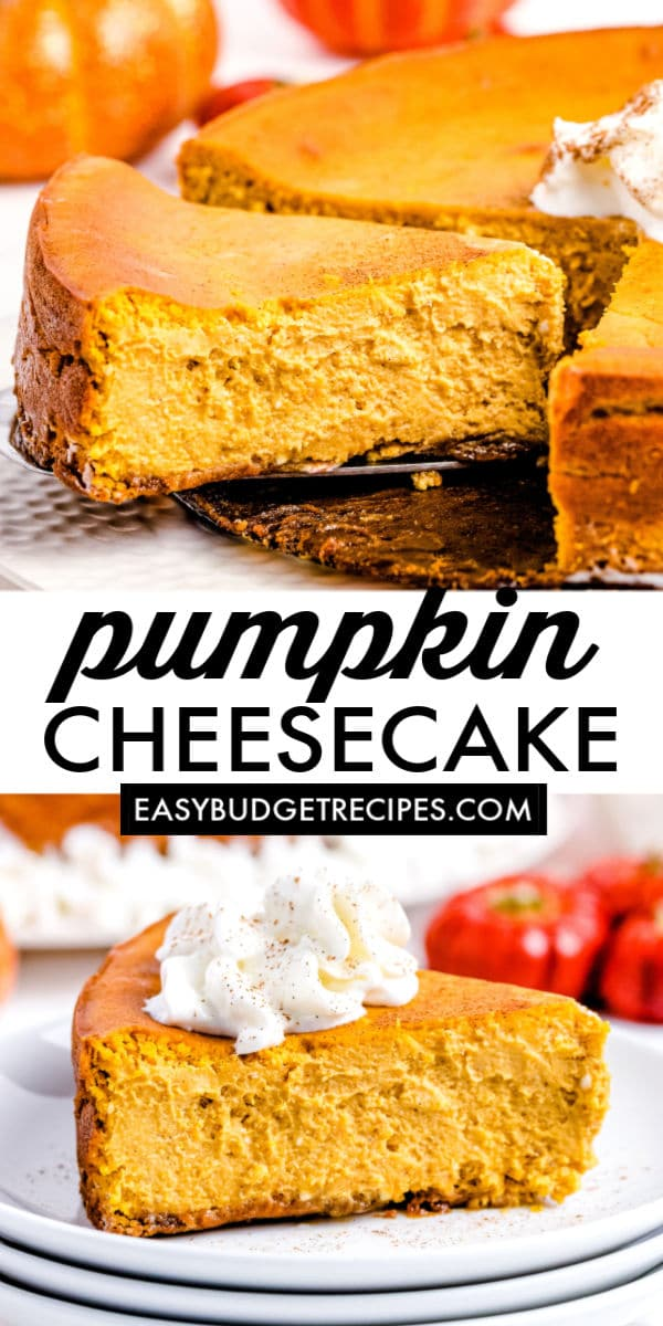 Mom's Pumpkin Cheesecake is an easy-to-follow recipe that she's been making for decades! The cheesecake is perfectly spiced, and it doesn't require a water bath while baking! via @easybudgetrecipes