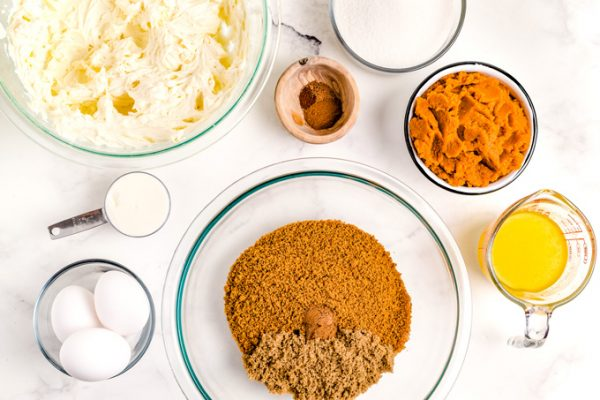 All of the ingredients needed to make mom's pumpkin cheesecake.