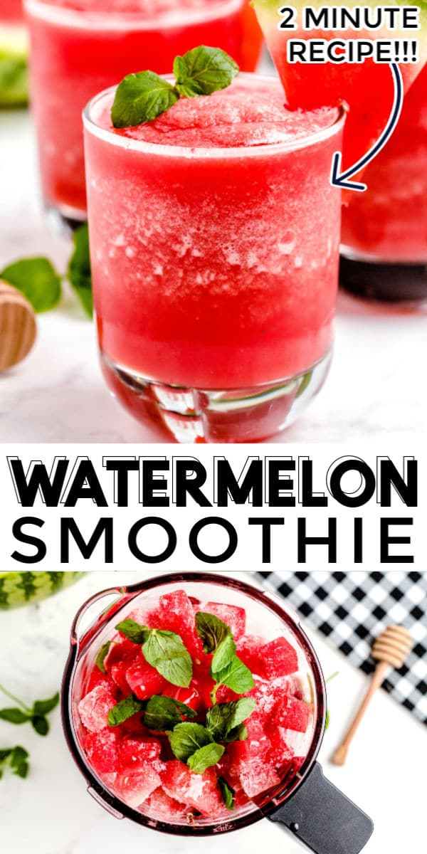 This Watermelon Smoothie recipe is incredibly refreshing and takes 2 minutes to make. All you need is frozen watermelon, water, lime juice, honey, and mint leaves (optional). This recipe makes six, 1-cup servings. via @easybudgetrecipes