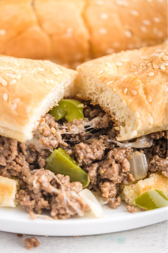 A close up picture of a finished Philly cheesesteak sloppy joe.