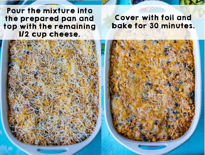 Cheese sprinkled on top of the casserole mixture before it's baked.