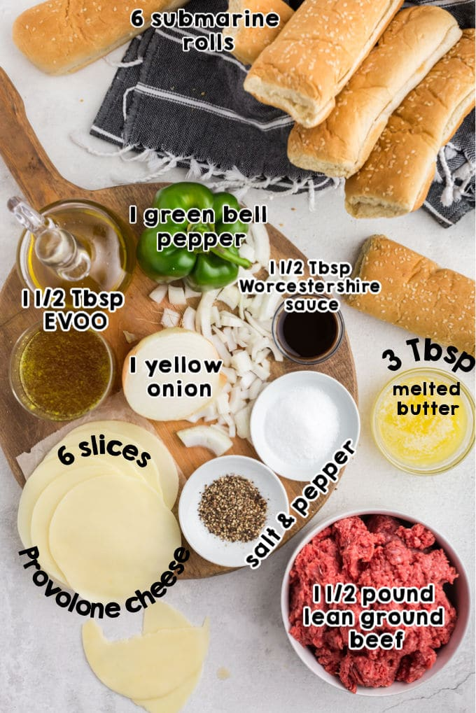 An overhead picture of all the ingredients needed to make this Philly Cheesesteak Sloppy Joes recipe.
