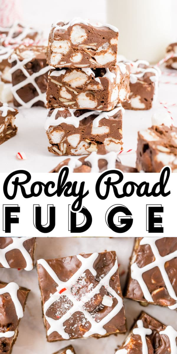This Rocky Road Fudge recipe is loaded with mini marshmallows and toasted almonds. This fudge can be enjoyed year-round or dressed up for the holidays. via @easybudgetrecipes