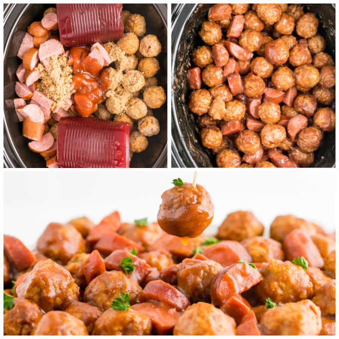 A picture collage of the cranberry meatballs in the crockpot before and after they are cooked.