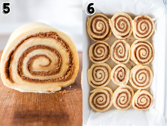 The cinnamon rolls inside a pan before the go into the refrigerator overnight.