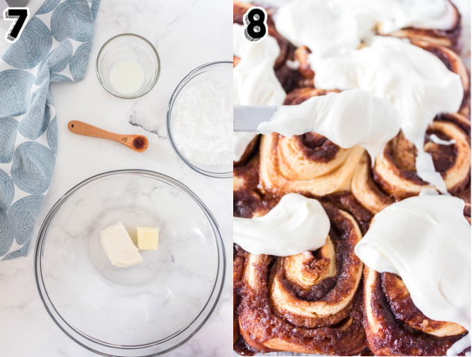 Cream cheese icing being spread over the baked cinnamon rolls.