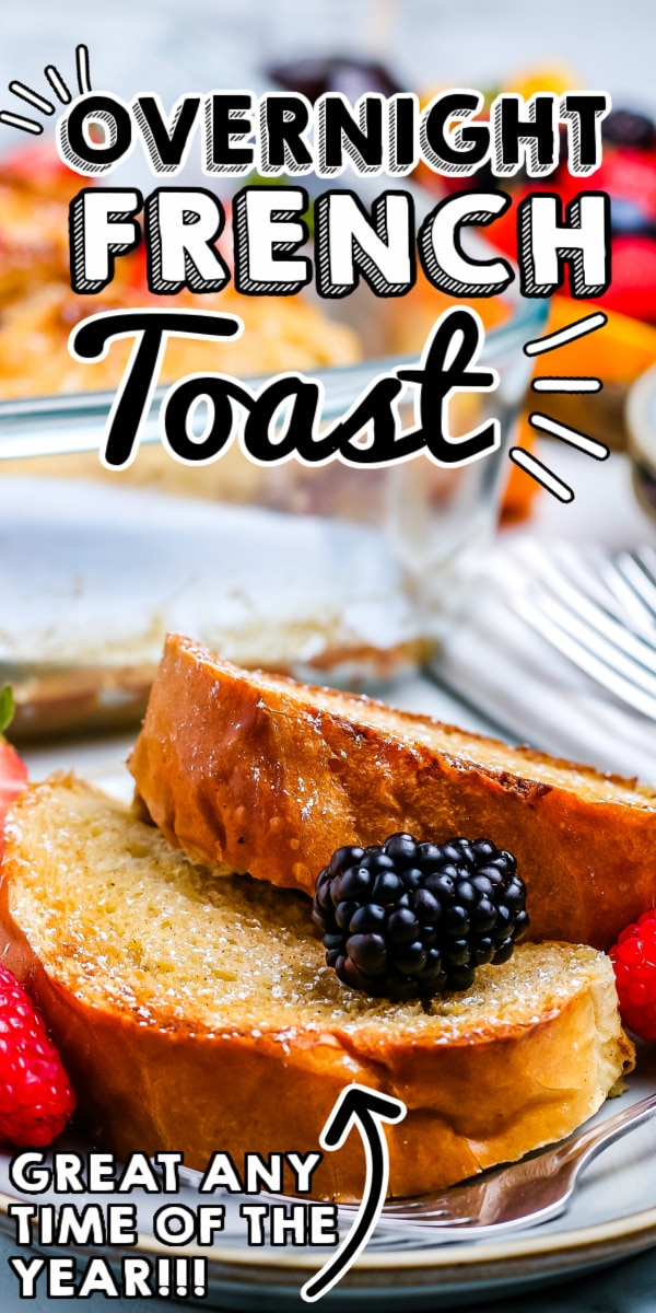 Overnight French Toast Bake is just the dish to serve when you have overnight guests. The French Toast emerges golden brown and puffy from the over. Serve with fresh berries, powdered sugar, and syrup. via @easybudgetrecipes