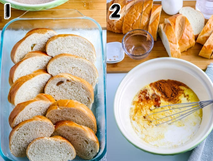 The pieces of French bread layered in a baking dish.