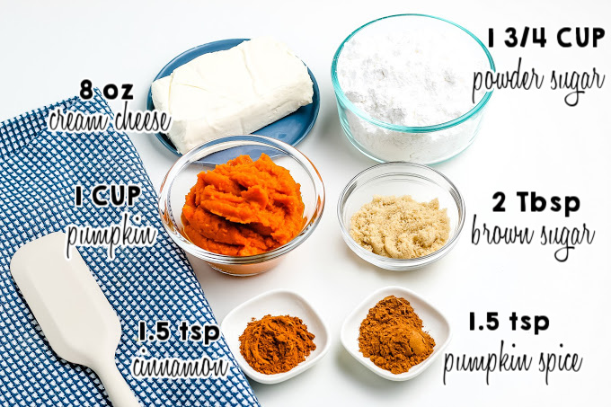 All of the ingredients needed to make Pumpkin Cream Cheese Dip.