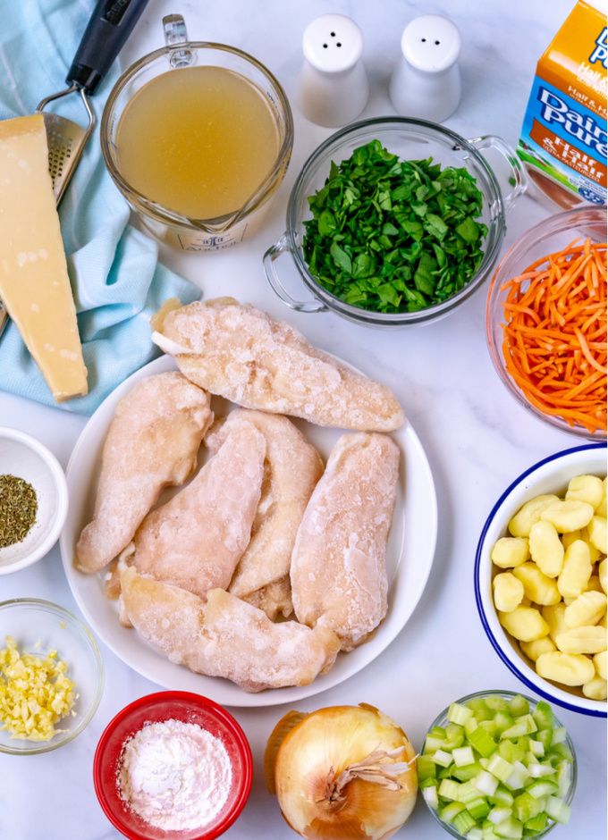 An overhead picture of all the ingredients needed to make this soup.