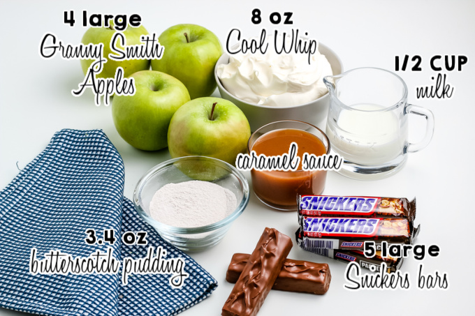 All of the ingredients needed to make Snickers salad.