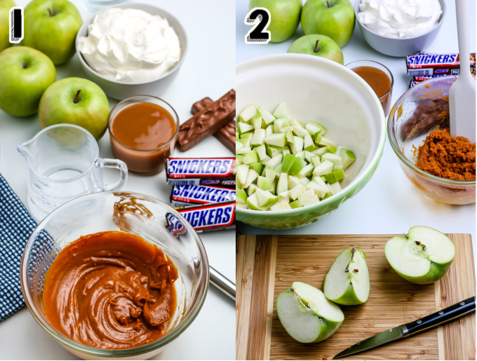 Chopped Granny Smith apples added to a mixing bowl.