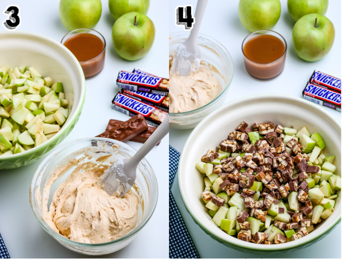 The butterscotch cream mixture added to chopped apples and Snickers.