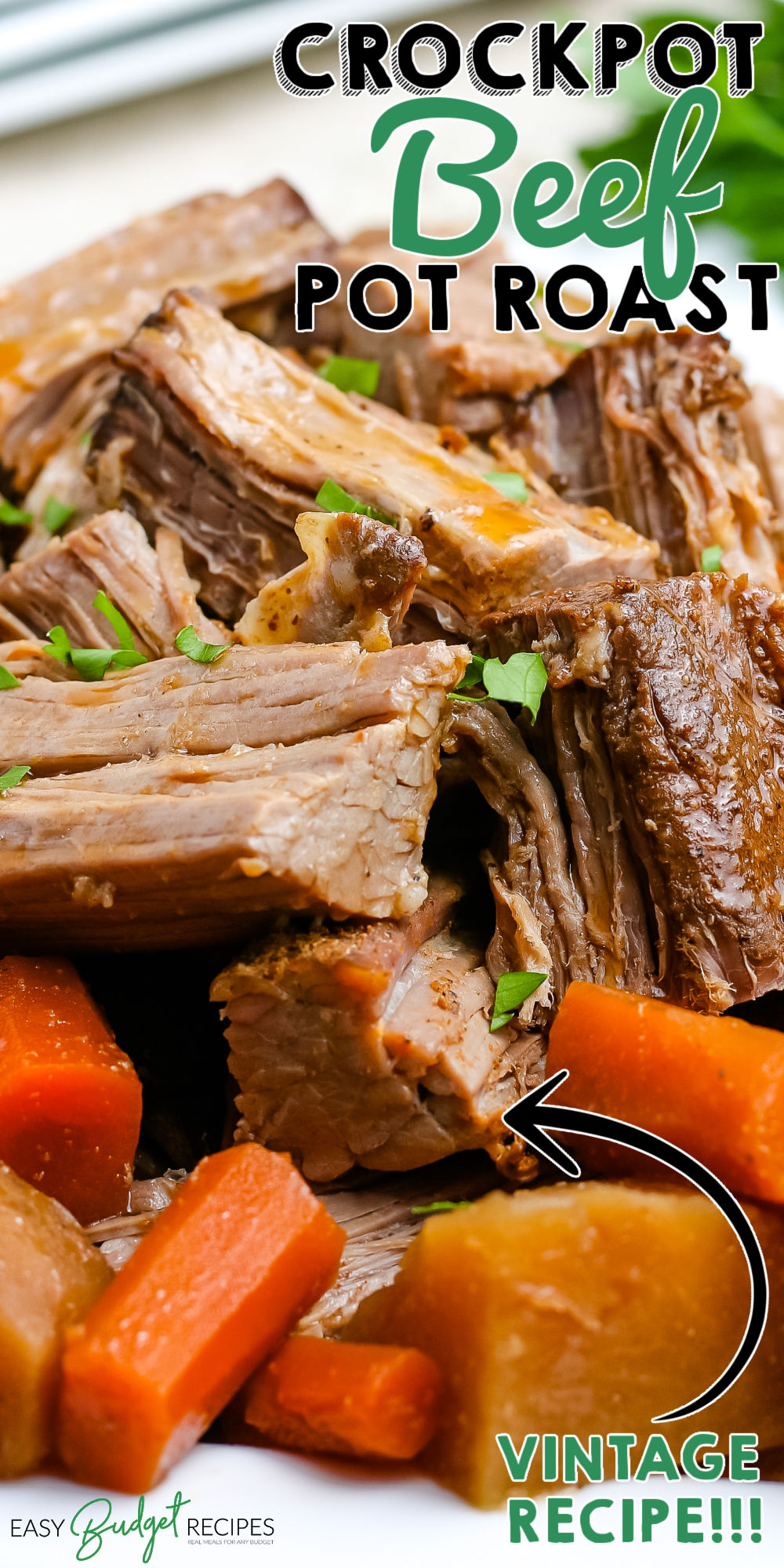 Slow Cooker Pot Roast is a Sunday dinner classic. We love the slow cooker's convenience because you throw everything in, and your beef roast dinner is ready a few hours later. via @easybudgetrecipes