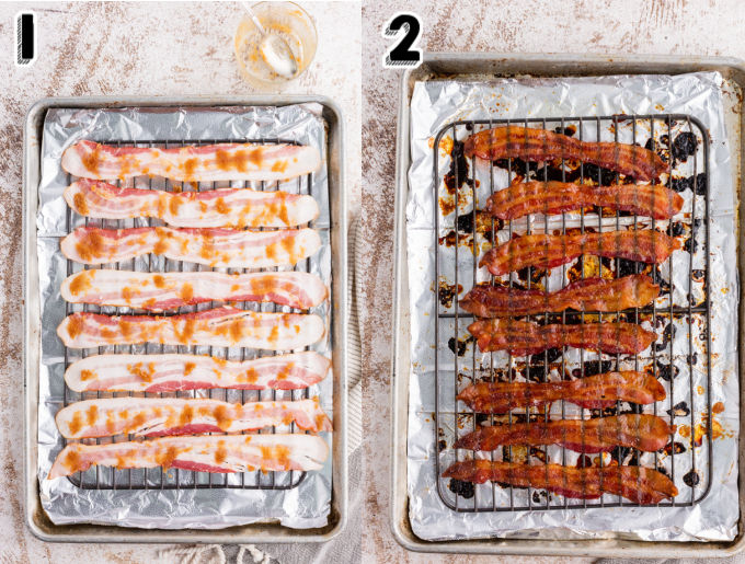 The bacon on the baking rack before it's put in the oven.