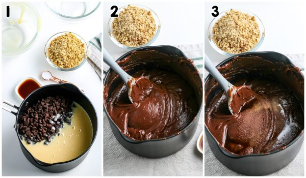 The melted chocolate in a saucepan.
