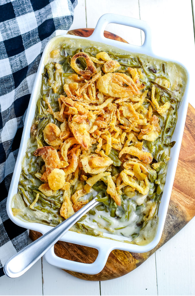 Green Bean Casserole is a Thanksgiving staple that is easy to make and serves a crowd. It has just four ingredients: green beans, cream of mushroom soup, milk, and French fried onions.  via @easybudgetrecipes