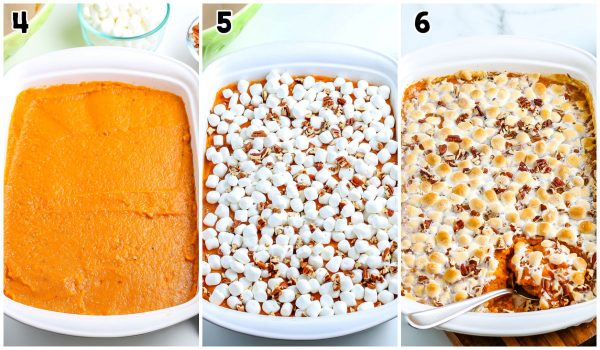 The sweet potatoes in the casserole dish with marshmallows and pecans on top.