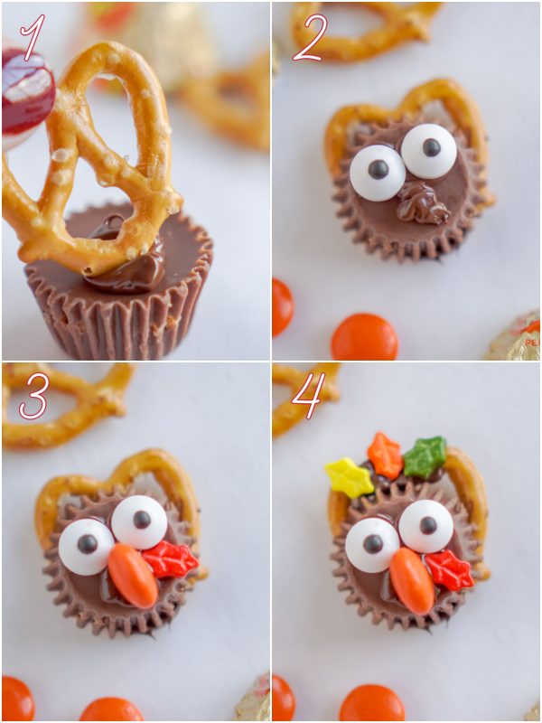 A picture collage of the differnt steps needed to make these turkey treats.