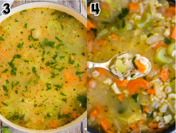 The soup after it has simbarley is cooked. mered and the