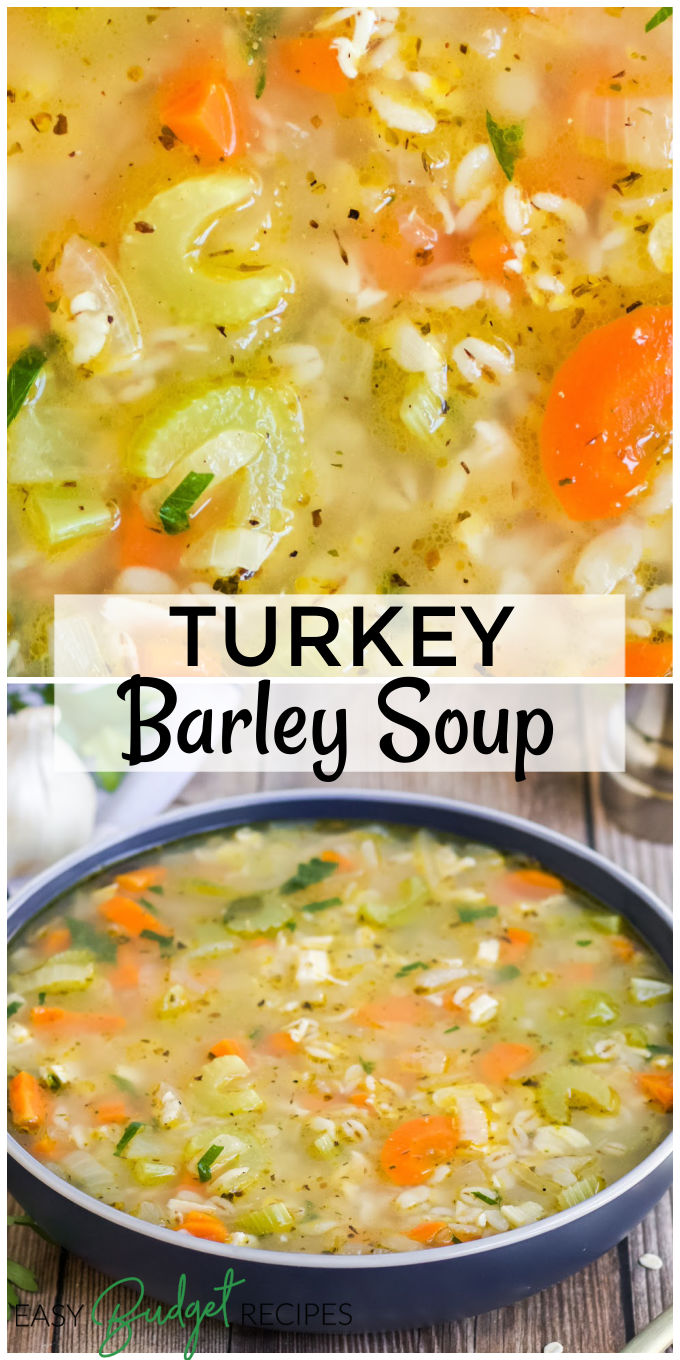 Turkey Barley Soup is a great way to use leftover turkey. It takes just 20 minutes to make, it's nutritious, and it's the best turkey soup ever! via @easybudgetrecipes