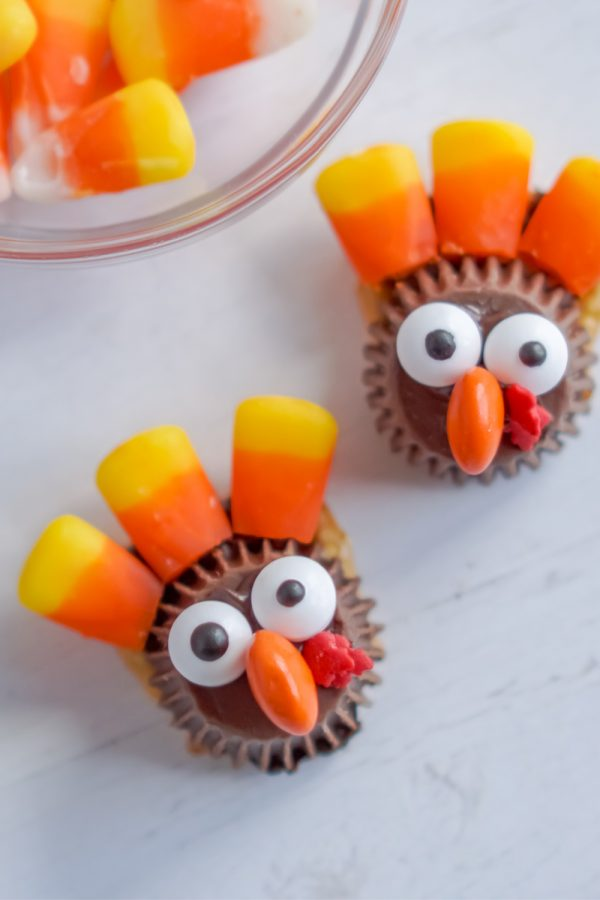 A close up picture of turkey treats made with candy corns.