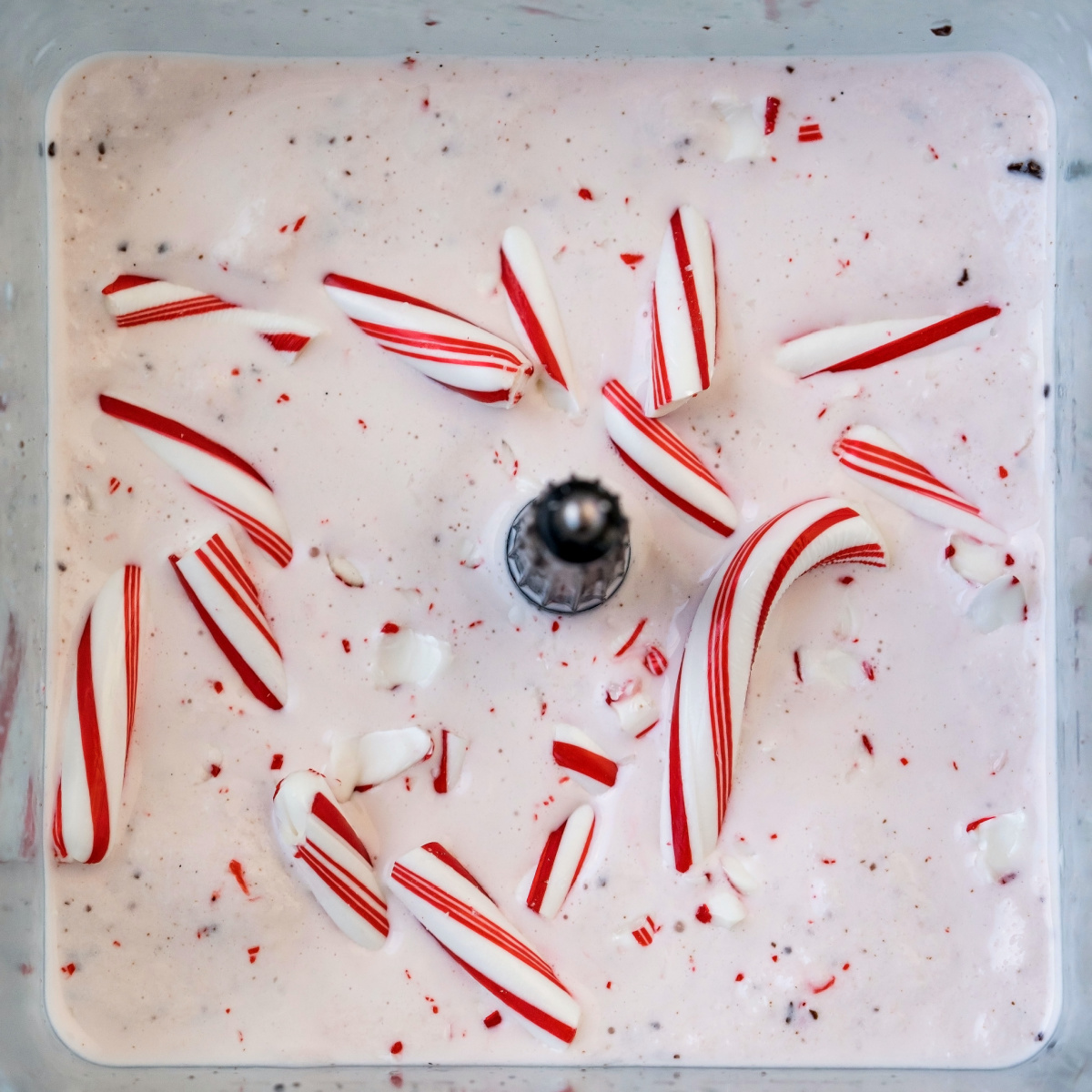 A close up picture of the peppermint milkshake with candy cane pieces on top.
