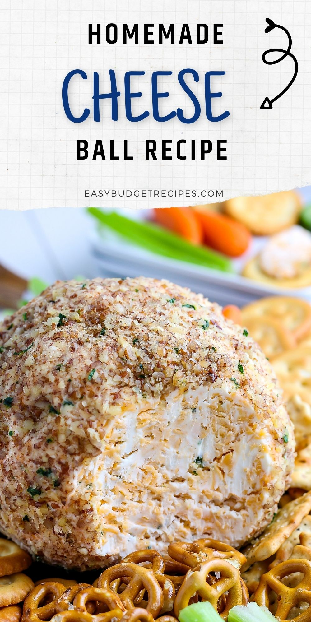 This Classic Cheese Ballrecipe is perfect for any occasion, and it's so easy to make. Everyone is going to want some of this rich and creamy homemade cheese ball recipe. via @easybudgetrecipes