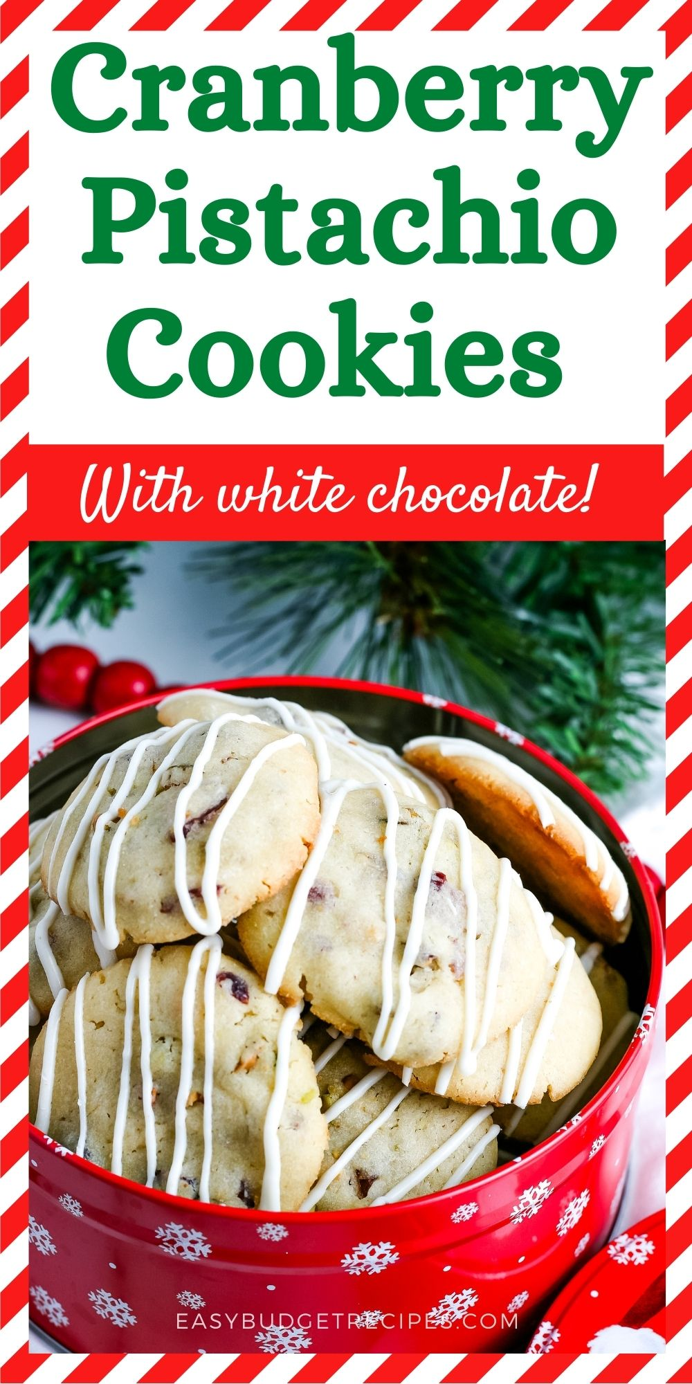 Pistachios, cranberries, and white chocolate drizzle make this Pistachio Cranberry Cookies recipe festive in both flavor and color. Our recipe has a vanilla cookie base for a melt-in-your-mouth Christmas cookie that's perfect for parties and cookie exchanges. via @easybudgetrecipes