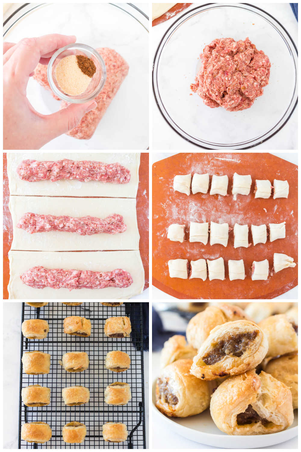 A picture collage of the process of how to make sausage rolls.