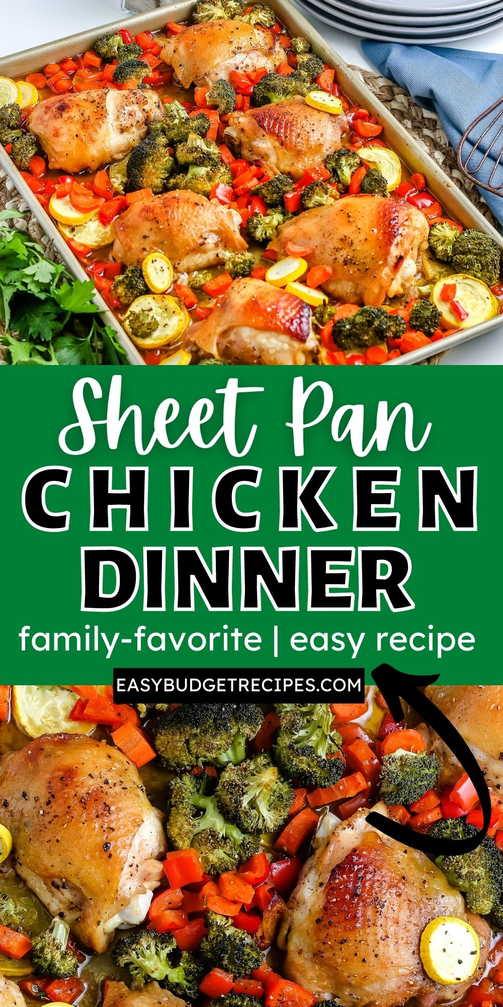 This Sheet Pan Chicken Dinner is made with chicken thighs, broccoli, squash, bell pepper, carrots, and a delicious marinade. It's easy to make, and all made on a sheet pan. via @easybudgetrecipes