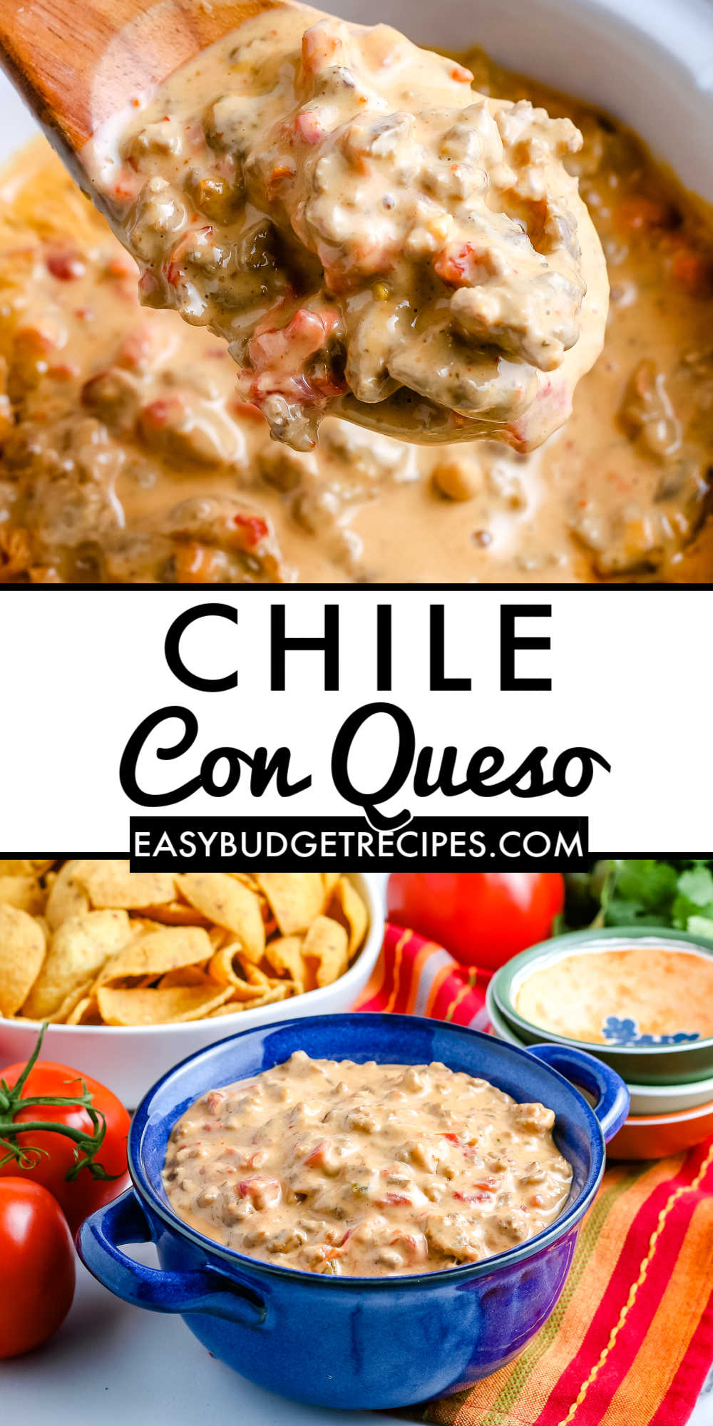 This easy Crockpot Chile Con Queso recipe is a hearty party dip that is always a crowd-pleaser. You only need 4 ingredients to make this Chile Con Queso!  via @easybudgetrecipes