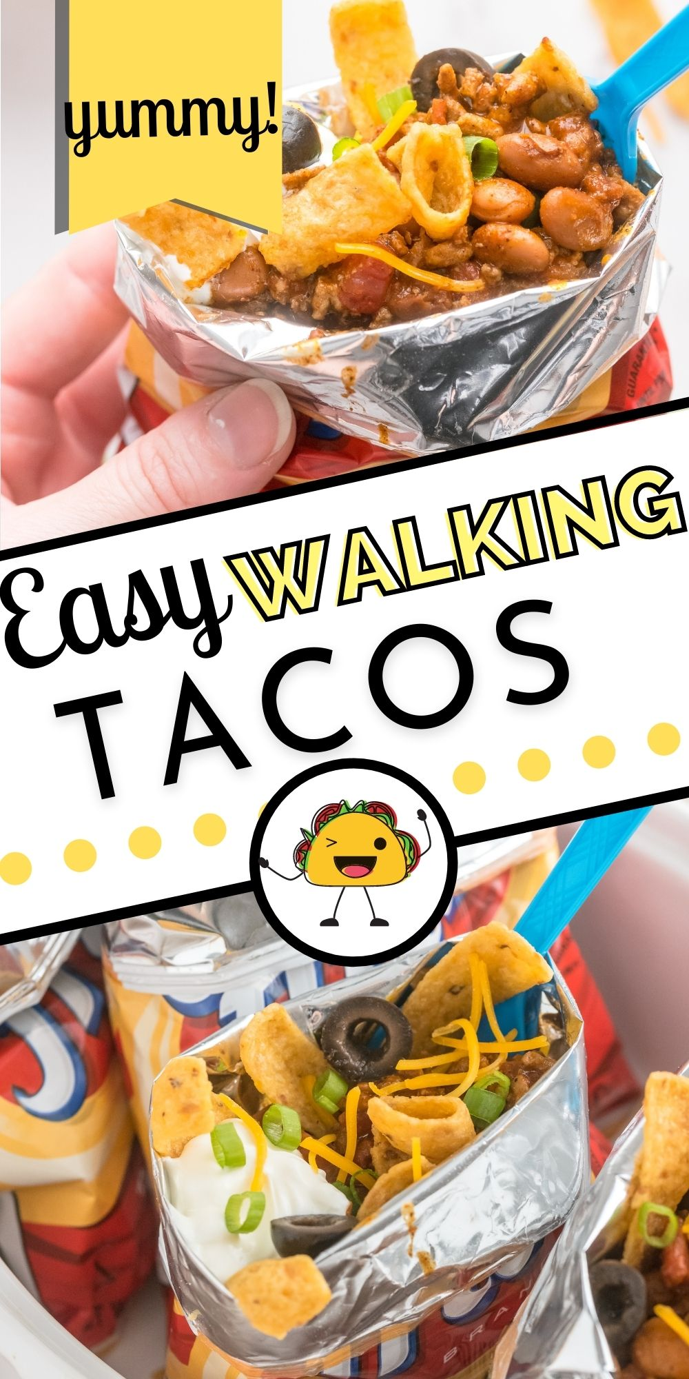 These easy Walking Tacos or Walking Frito Pies are simple to make, and the entire family will love them. You'll love that there are fewer dishes to clean up afterward!  via @easybudgetrecipes