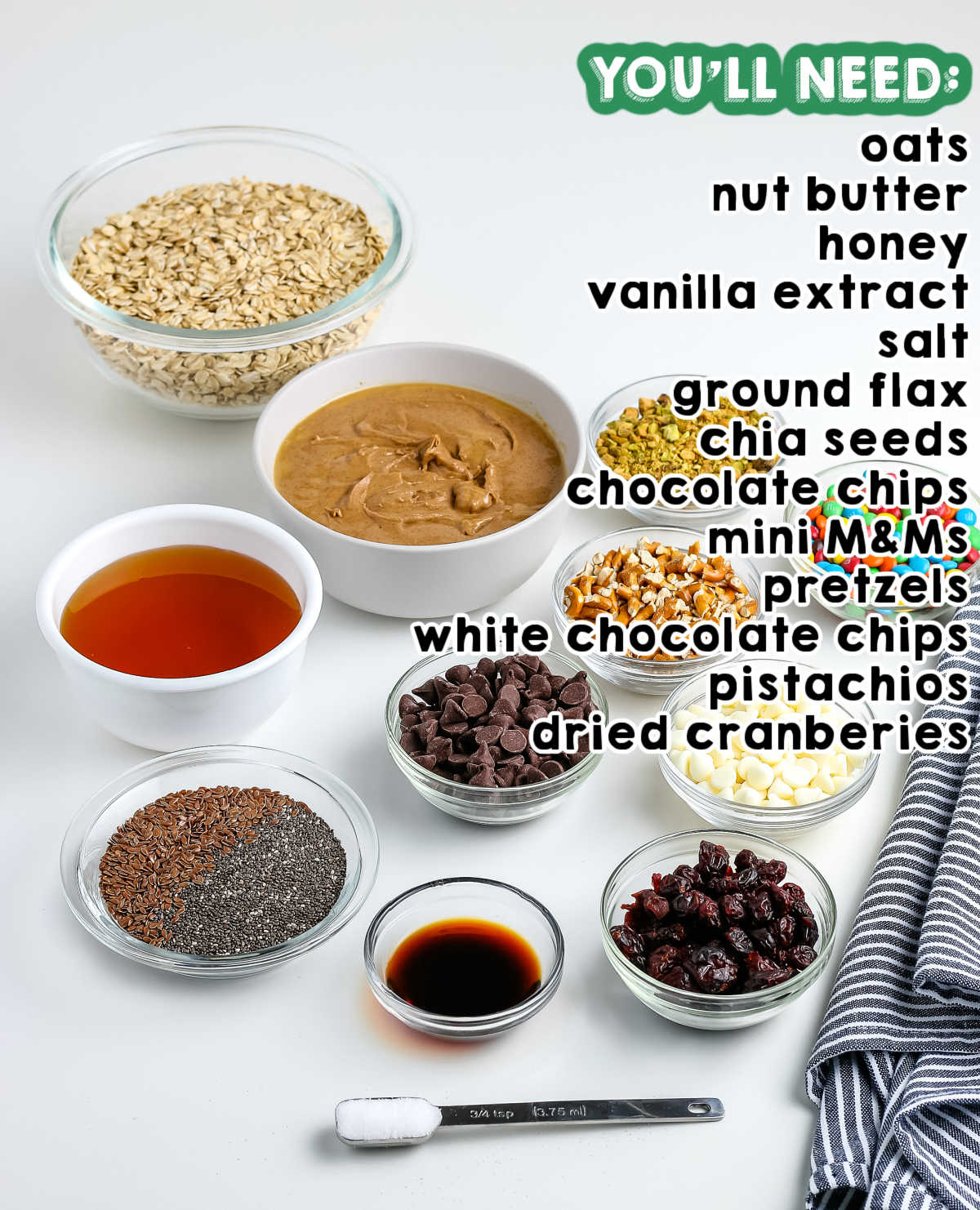 All of the ingredients needed to make Energy Balls.