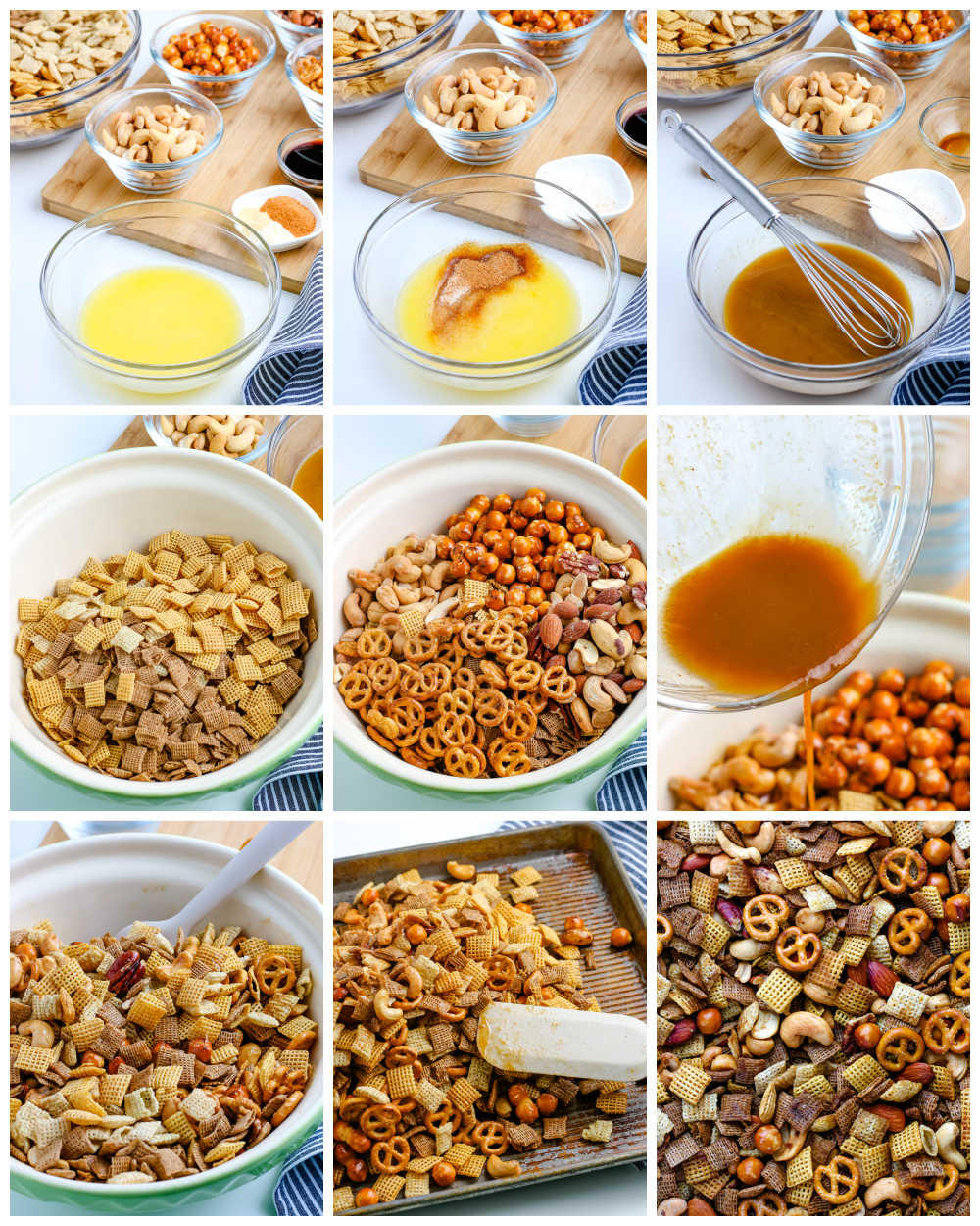 A picture collage of how to make Chex Party Mix.