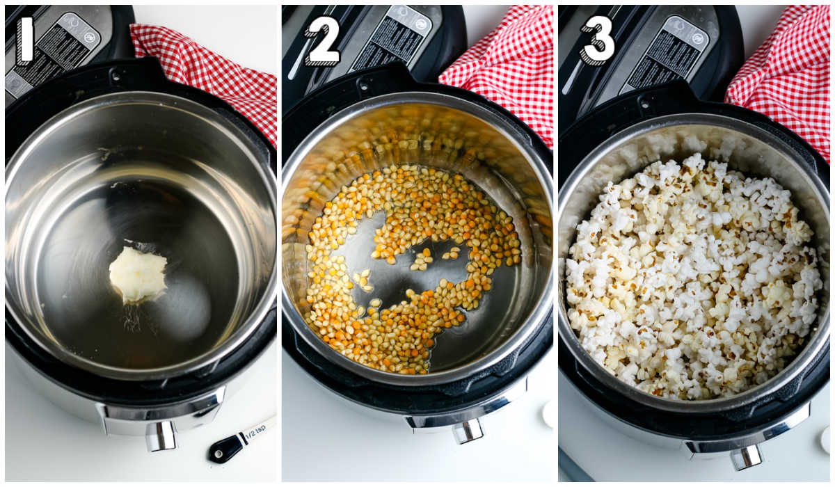 A picture collage of how to make Instant Pot Popcorn.