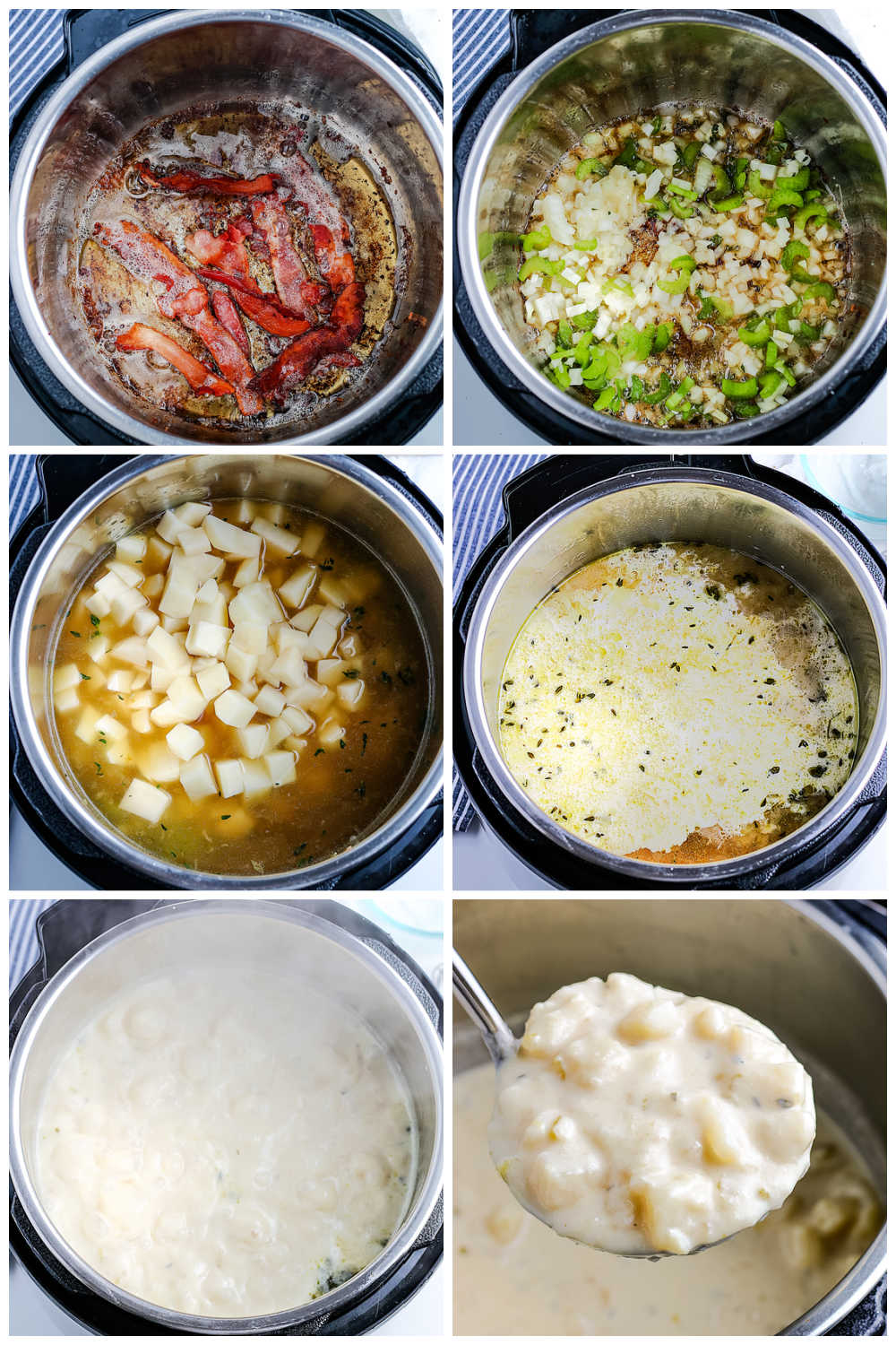 A picture collage of how to make Instant Pot Potato Soup.