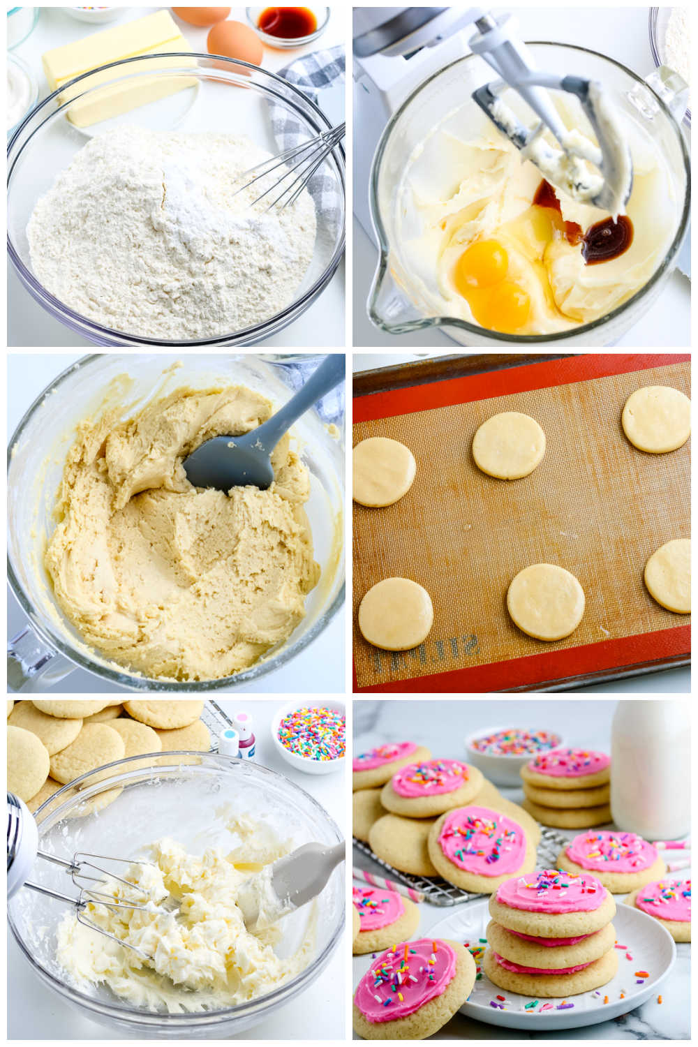 A picture collage of how to make Lofthouse Sugar Cookies.