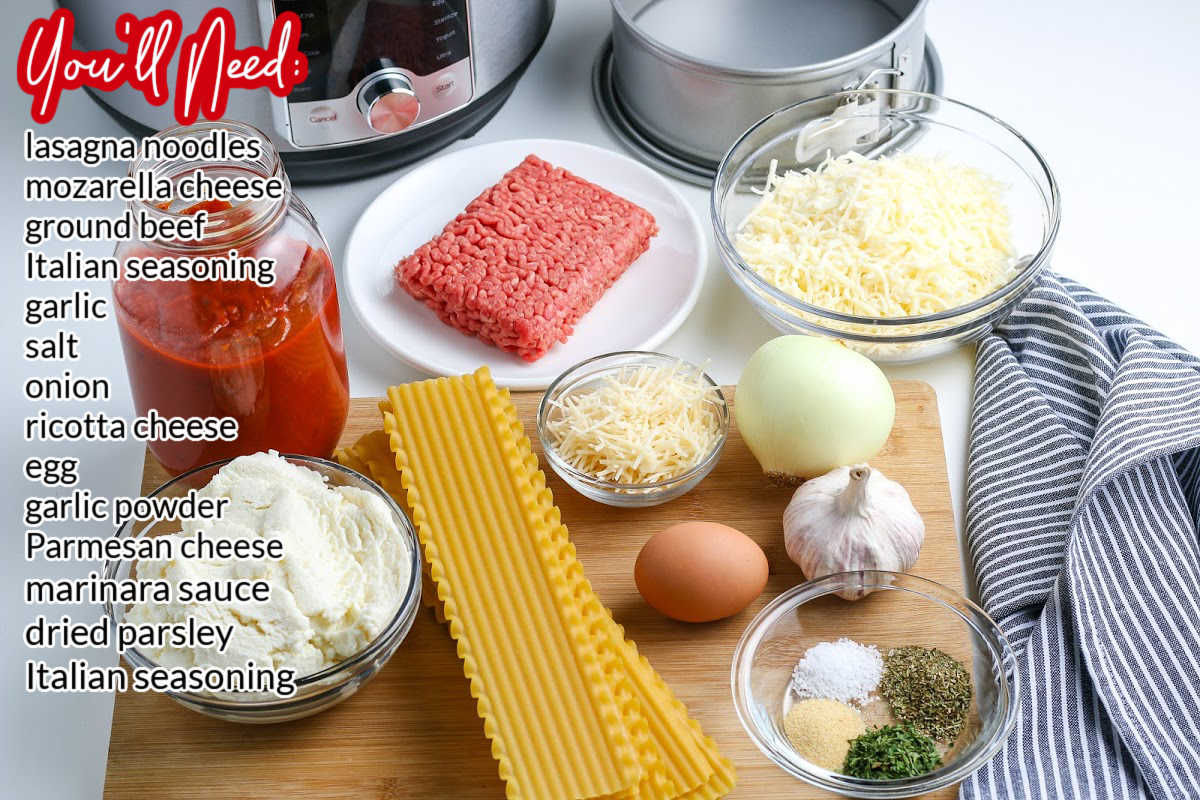 All of the ingredients needed to make this Instant Pot Lasagna recipe.