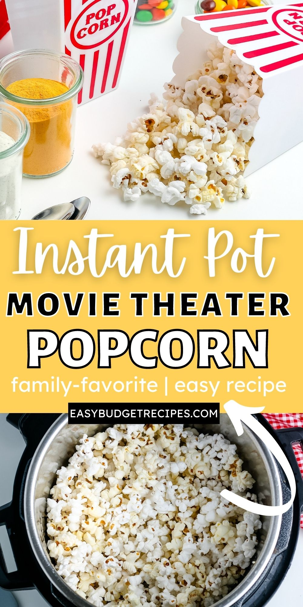 This Instant Pot Popcorn recipe is easy to make and tastes very similar to movie theater popcorn! Three ingredients and about 15 minutes are all you need to make it! via @easybudgetrecipes