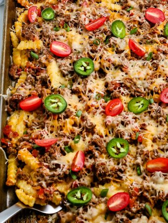 An overhead picture of the finished Nacho Fries.
