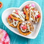 Rolo Pretzel Turtles in a heart-shaped candy dish.