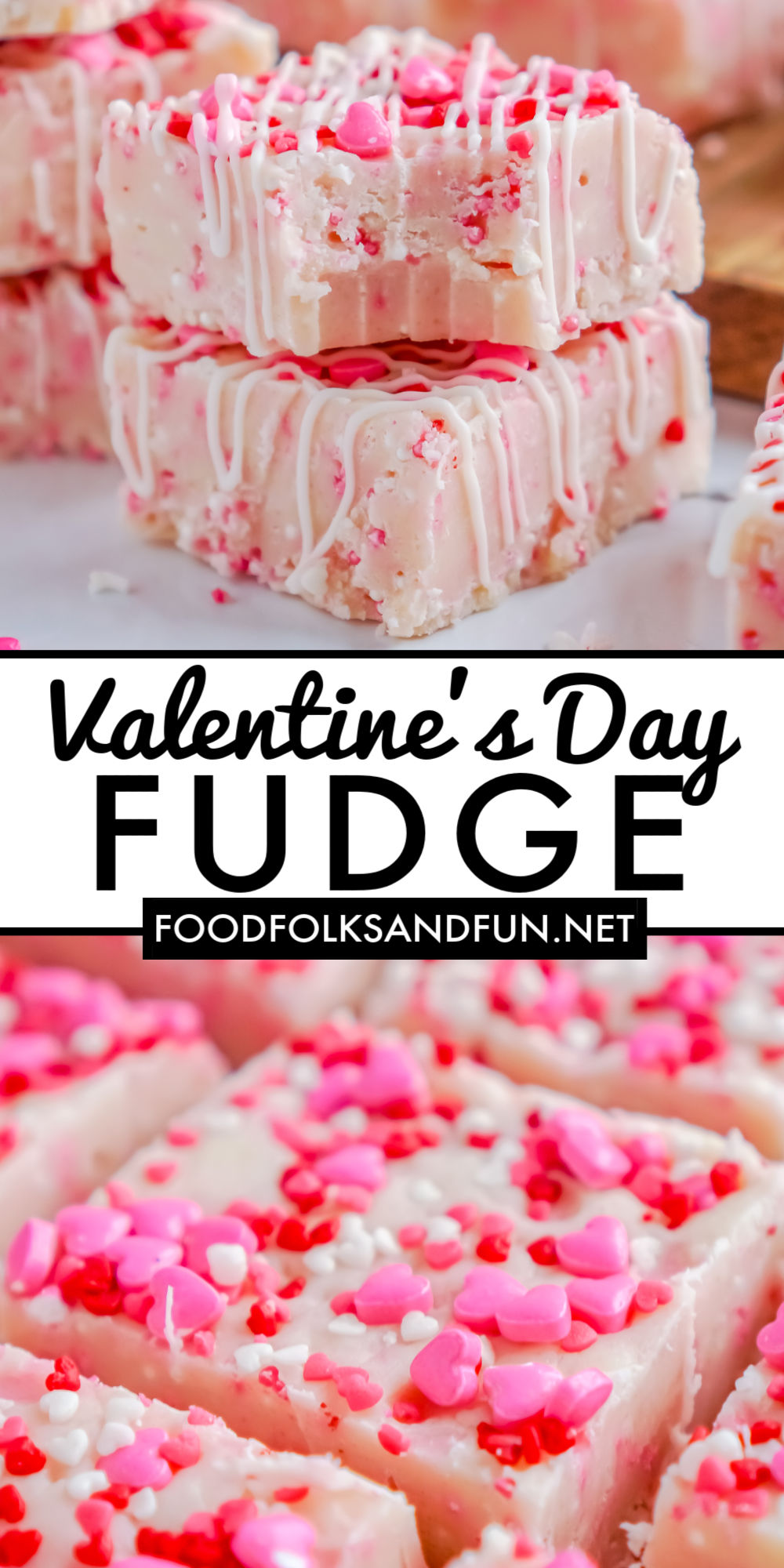 This easy Valentine's Day Fudge recipe has a creamy white chocolate base with a hint of sugar cookie. It's studded with sprinkles and drizzled with white almond bark. via @easybudgetrecipes