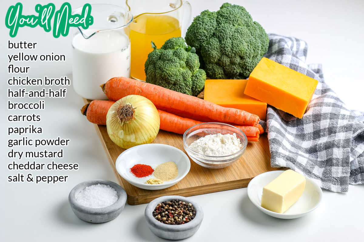 All of the ingredients needed to make Broccoli Cheese Soup.