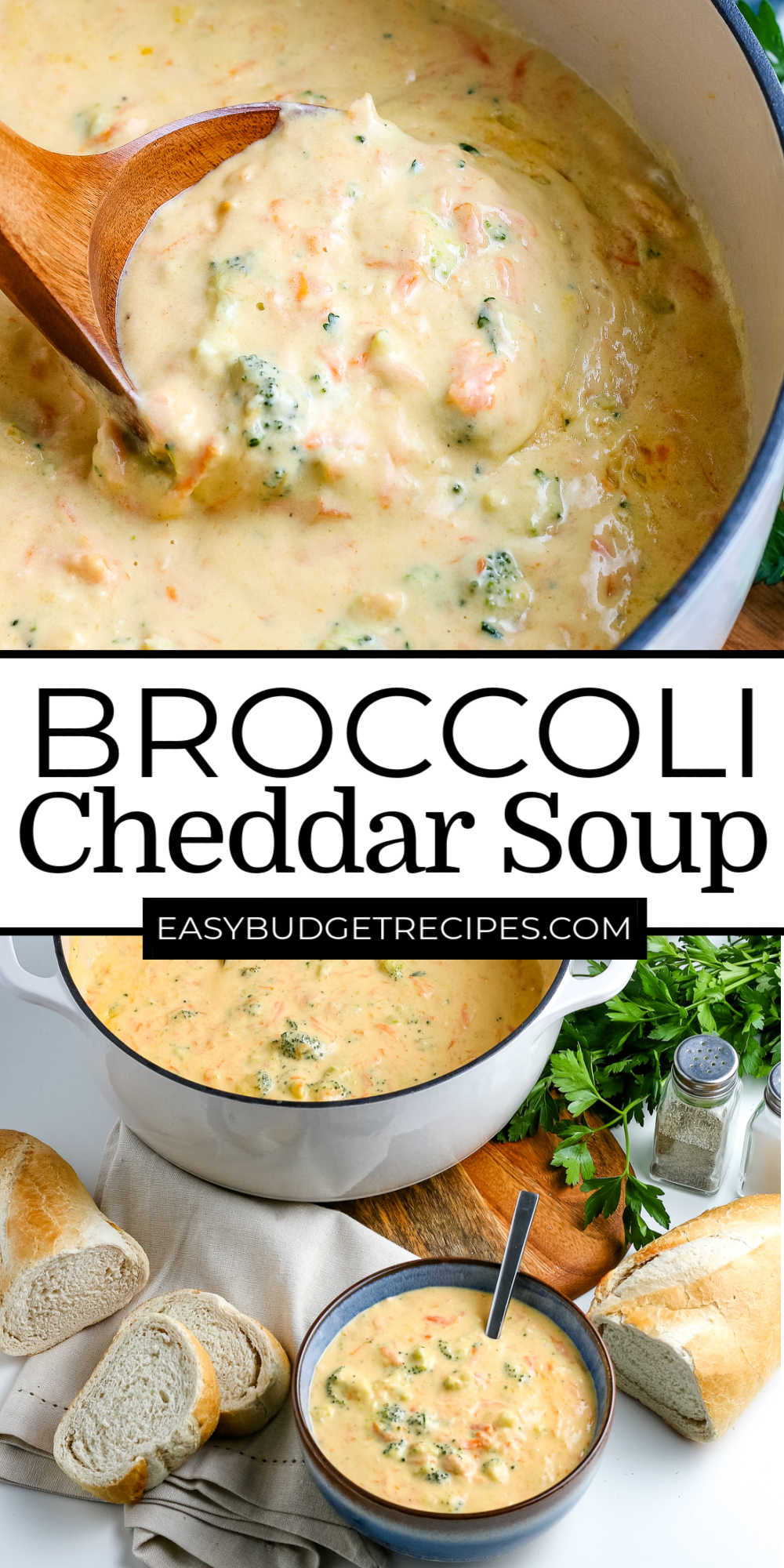 Broccoli Cheddar Soup is a classic soup that is great any time of the year. It's velvety-smooth, creamy, cheesy, and full of perfectly cooked broccoli and carrots.  via @easybudgetrecipes